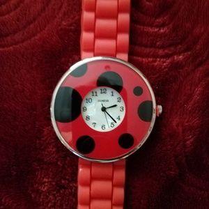 Geneva ~ Red Silicone Ladybug 🐞 Round Face Watch